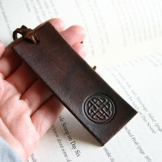Dark brown leather bookmark  celtic design or by FatCatLeather, $14.00