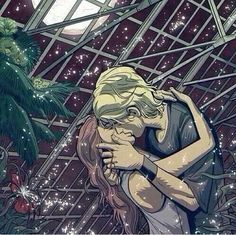 This is the best fan art I've seen of this scene. The green house kiss in the City of Bones.