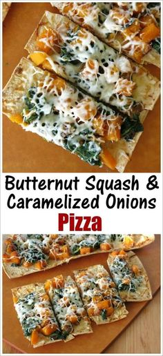 Flat Bread Pizza with Butternut Squash, Caramelized Onions and Spinach - a delicious blend of fall flavors! Vegetarian recipe by @DinnerMom: