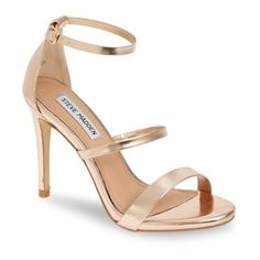 Women's Steve Madden Sheena Strappy Sandal (150 BAM) ❤ liked on Polyvore featuring shoes, sandals, rose gold, high heel stilettos, stiletto heel shoes, strap sandals, stiletto high heel shoes and steve madden sandals