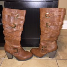 Boots Madden Girl high boots . Used only once ! Great condition. Cognac color Madden Girl Shoes