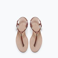 ZARA - TRF - FLAT SANDALS WITH GOLD-TONE DETAIL