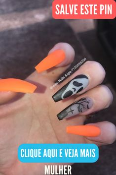Acrylic Halloween Nails that are Truly Spooktacular Halloween Acrylic Nails That Are Really Spooktacular Holloween Nails, Halloween Acrylic Nails, Halloween Nail Designs, Cute Acrylic Nails, Acrylic Nail Designs, Cute Nails, Pretty Nails, Diy Halloween, Halloween Costumes