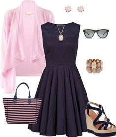"""""""Pink and Navy"""" by cs1398 ❤ liked on Polyvore"""
