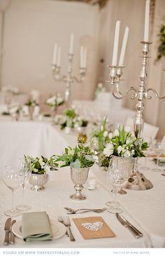 Green flowers table decor