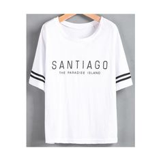 SheIn(sheinside) White Striped Short Sleeve Letters Print T-Shirt (€8,27) ❤ liked on Polyvore featuring tops, t-shirts, sheinside, white, print tees, white t shirt, white summer tops, white stripes t shirt and pattern t shirt