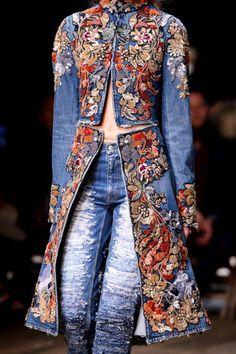 CUSTOM MADE Alexander McQueen inspired embellished long denim coat - Absolutely gorgeous beautiful long jacket from Alexander mcQueen latest collection 2016 Inspired pi - Moda Fashion, Denim Fashion, Fashion Outfits, Womens Fashion, Paris Fashion, Funky Fashion, Unique Fashion, Long Denim Coat, Long Denim Dress