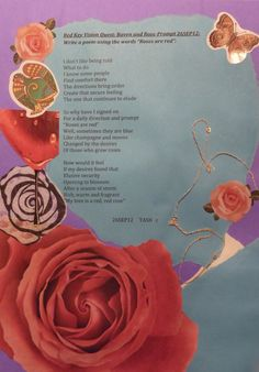 Roses Are Red Prompt-Poetry, collage and stickers from the Book of Legend-Ravens At My Window/Roses On My Wall  2012  Deborah K. Tash