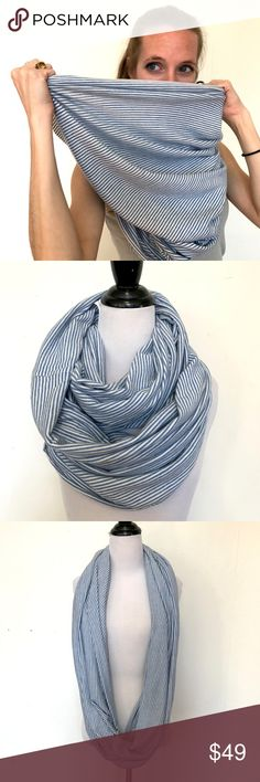 American Apparel Blue Striped Infinity Scarf American Apparel Blue Striped Jersey Infinity Scarf Circle Head Wrap Hijab Warm  American Apparel's classic versatile Circle/Infinity Scarf.  Excellent Condition! Very Soft!  Can be used as an infinity scarf, head scarf, hijab, or shawl!  Medium weight. Fabric content not listed.  Great for Burning Man, festivals, edm events/edc, or the perfect pairing to your fall and spring jackets!  Please check out my Trixy Xchange Store for more scarves and…