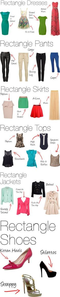 Rectangle Body Shape:Clothes /Ropa para el cuerpo con forma de Rectángulo