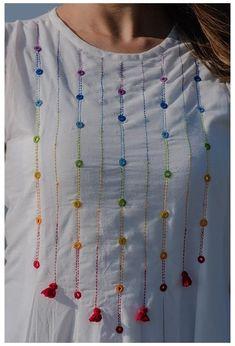 Embroidery On Kurtis, Hand Embroidery Dress, Kurti Embroidery Design, Embroidery On Clothes, Flower Embroidery Designs, Embroidered Clothes, Embroidery Fashion, Border Embroidery, Embroidery Stitches