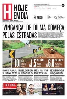 Capa do dia 29/04/2016 #HojeEmDia #Jornal #Notícias #News #Newspaper