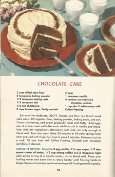 Vintage Recipes, 1950s Cakes, Chocolate Cake