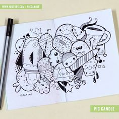 Doodle by Pic Candle Cute Doodle Art, Doodle Art Designs, Doodle Art Drawing, Graffiti Drawing, Doodle Sketch, Cute Art, Kawaii Doodles, Cute Doodles, Kawaii Drawings