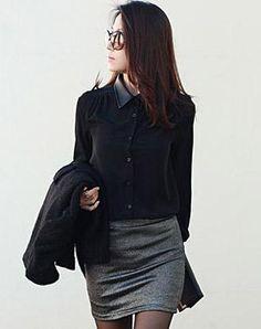 Korean style leather collar shirt