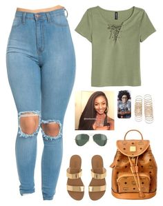 """""""Untitled #378"""" by nun-for-free ❤ liked on Polyvore featuring H&M, J.Crew, MCM, Forever 21 and Ray-Ban"""