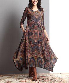 Another great find on #zulily! Brown Paisley Handkerchief Maxi Dress #zulilyfinds