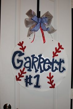 Customized Baseball Door Hanger, Sports Decor Wreath on Etsy, $40.00