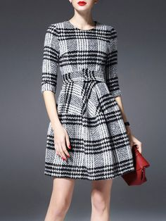 Black & Grey Plaid Wool Blend Dress
