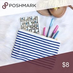 Navy & White Striped Pouch Adorable navy and white striped pouch with gold zipper, perfect for and odds and ends that you want to carry or as a casual purse. Great item for bundling!  ✅Offers ✅Bundle & Save 🚫Trades 🚫Off-Posh 🚫Modeling  💞Shop with ease; I'm a Suggested User.💞 Bags Clutches & Wristlets