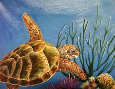 sea turtle acrylic Paintings | Sea Turtle Painting by Chris Newell - Into the Ocean Green Sea Turtle ...