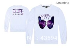 DOPE SHIT Sweats 100% cotton Purple two-finger sign men's long sleeve sweaters 5 styles sportswears Free Shipping Size S-XXL $23.99