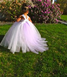 White Tutu Flower Girl Dress with purple detachable Train. $53.00, via Etsy.
