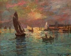 Bateaux au Crépuscule - Eugene Chigot