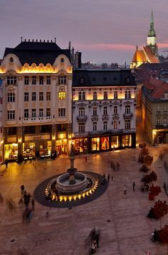 Main Square in Bratislava at night, Slovakia. I my city. Oh The Places You'll Go, Places To Travel, Places Ive Been, Budapest, Bratislava Slovakia, Central And Eastern Europe, Voyage Europe, Montenegro, Travel Around