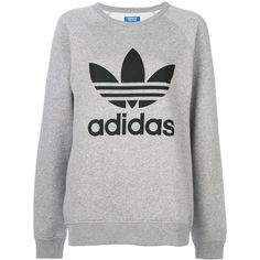Adidas Adidas Originals Trefoil sweatshirt ($74) ❤ liked on Polyvore featuring tops, hoodies, sweatshirts, grey, adidas originals sweatshirt, long length tops, grey sweatshirt, raglan sweatshirt and adidas originals top