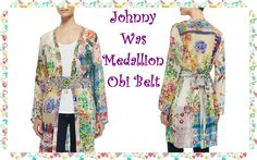 Johnny Was Collection Medallion Printed Obi Belt: •Johnny Was Collection embroidered and printed belt. •Beaded medallion center. •Self-tie back. •Rayon; combo: cotton. •Hand wash.  •Imported.