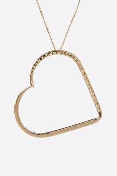 14K Yellow Gold Diamond Cut Open Heart Pendant Necklace