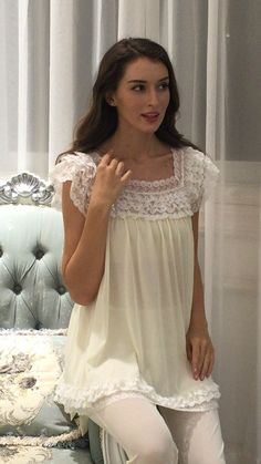 Miss Linda is elegant designs of intimate apparel, Serene comfort cotton nightgowns & soft and lightweight of luxury silk elegance womens sleepwear Cotton Gowns, Sleep Dress, Bridal Lingerie, Abaya Fashion, Sleepwear Women, Linda Summer, Nightwear, Night Gown, Pretty Dresses