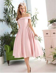 New Fashion Pink Prom Dresses Satin Prom Dress 1950s Vintage Inspired Off Shoulder Prom Formal Dress Evening Gowns