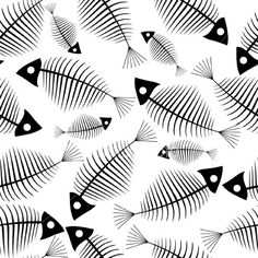 Fish skeleton seamless vector wallpaper Royalty Free Stock Vector Art Illustration