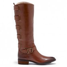 Women's Vintage Congnac Leather 1 1/4 Inch Leather Riding Boot   Franzie by Sole Society