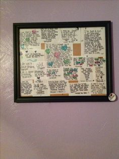 Put quotes in a picture frame for teen girl room. Looks nice. Yet simple I think this would look really good in a collage picture ftame.