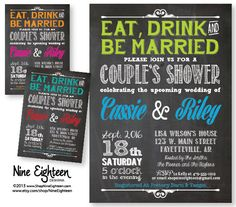 Eat Drink & Be Married Couple's Wedding Shower Invitation. Custom Printable PDF/JPG. I design, you print. Made to Match add ons available.