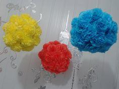 Vídeo 6 - Como fazer bolas com flores de papel de crepom (Topiaria) por ...