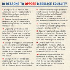 10 reasons to oppose gay marriage - i know everyone who sees this agrees, but it's just too good not to keep