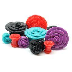 Acrylic Rosebud Ear Gauges 6g+