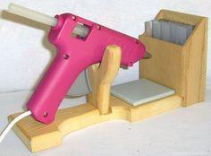 New Glue Gun Holder Stand Floral Craft Wood Organizer