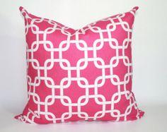 ZIPPER PILLOW COVER Decorative pillow, throw pillow, cushion, hot pink pillow, candy pink pillow, teen pillow, pink chevron pillow