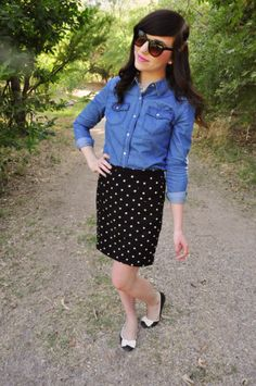 Chambray top paired with a conservative skirt and fun flats is perfect for the office.