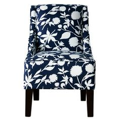 Swoop Arm Chair in Navy Floral