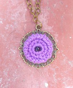 Crocheted necklace with bead by YarnderfulCrochet on Etsy, $11.00