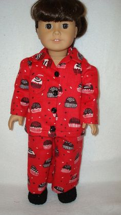 American Girl doll clothes/Yummy/flannel pajamas and by auntiejans