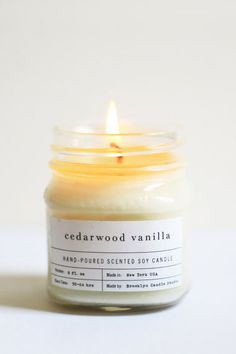 Brooklyn Candle Studio Cedarwood Vanilla Mason Jar Candle, $19, available at Brooklyn Candle Studio.
