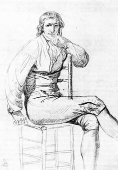 Sketch of Camille Desmoulins in prison