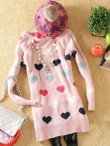 Pink Love Pattern Lady Long Sleeve Knit Sweater Dress